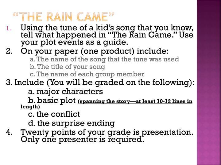 the rain came short story