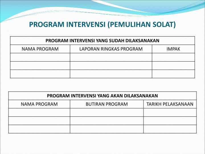 PROGRAM INTERVENSI (PEMULIHAN SOLAT)