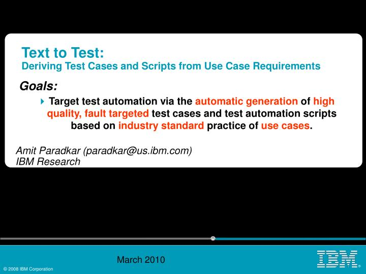 text to test deriving test cases and scripts from use case requirements n.