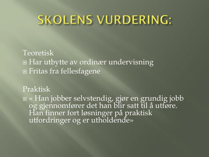 SKOLENS VURDERING: