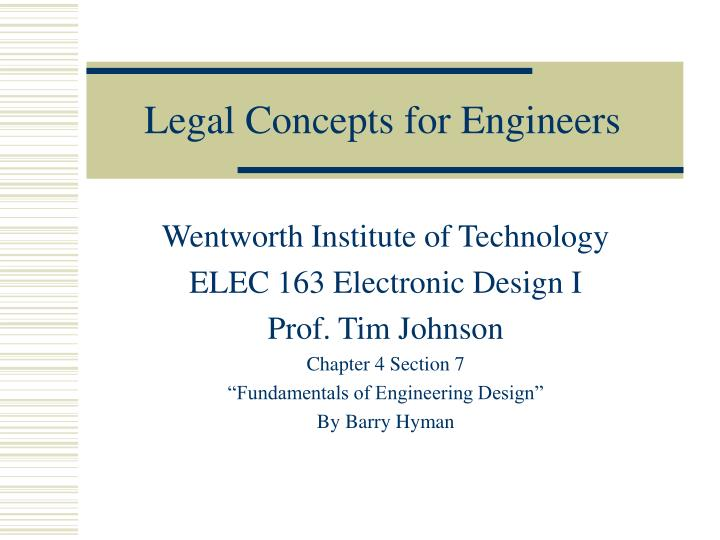 legal concepts for engineers n.