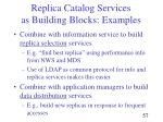 replica catalog services as building blocks examples