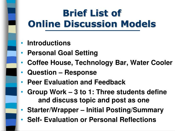 Brief list of online discussion models