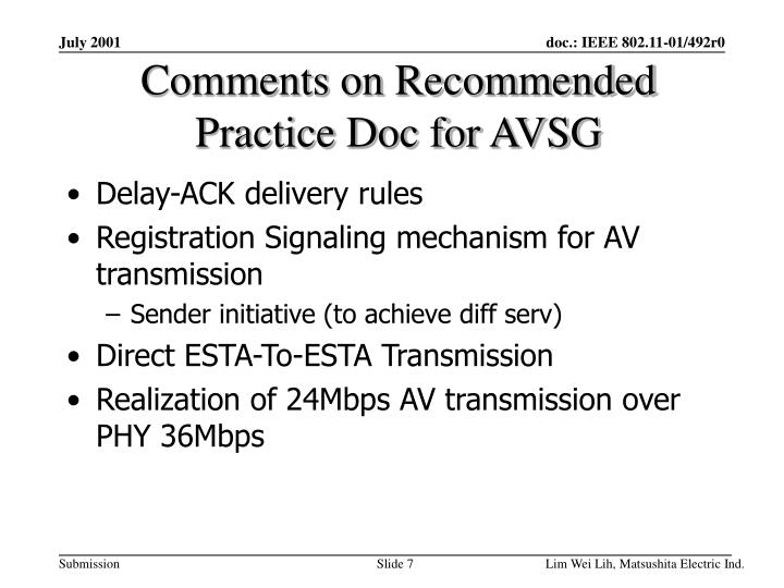 Comments on Recommended Practice Doc for AVSG