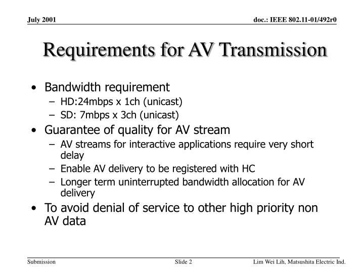 Requirements for av transmission