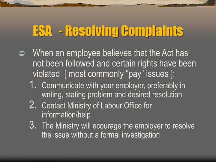 ESA   - Resolving Complaints