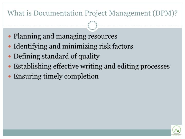 What is documentation project management dpm