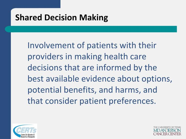an analysis of decision making regarding in health of patient Ethics in health care patients, clinical decision making is guided terize staff members' perceptions regarding the fairness of healthcare ethics practices.