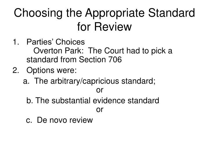 choosing the appropriate standard for review n.