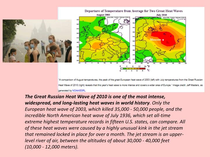 The Great Russian Heat Wave of 2010 is one of the most intense, widespread, and long-lasting heat waves in world history