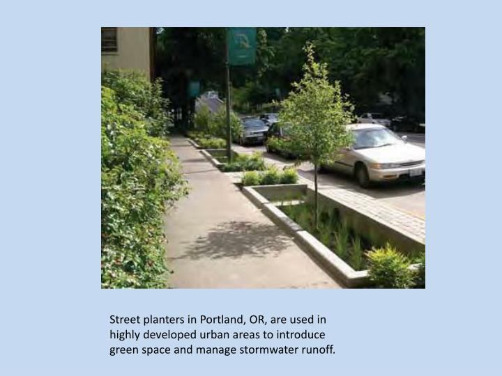 Street planters in Portland, OR, are used in