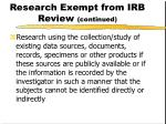research exempt from irb review continued1