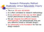 research philosophy method positivistic versus naturalistic inquiry