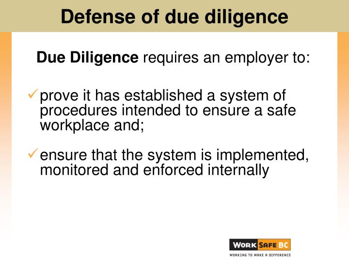 due diligence requires an employer to n.