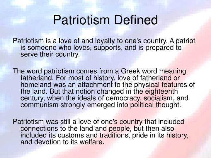 the definition of patriotism Definition of patriotism from the collins english dictionary used to the verb used to is a'marginal' modal verb unlike the other modal verbs, it is only found in the past tense therefore, when it is used with do to make negatives and questions, the form of the auxil.