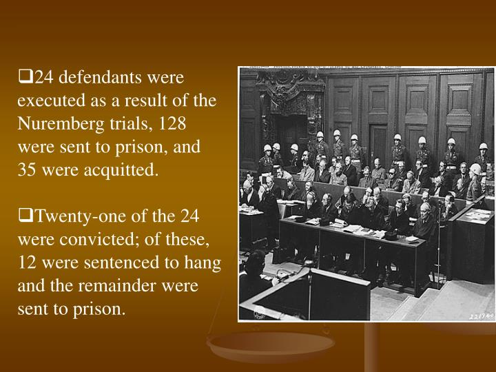 24 defendants were executed as a result of the Nuremberg trials, 128 were sent to prison, and 35 were acquitted.