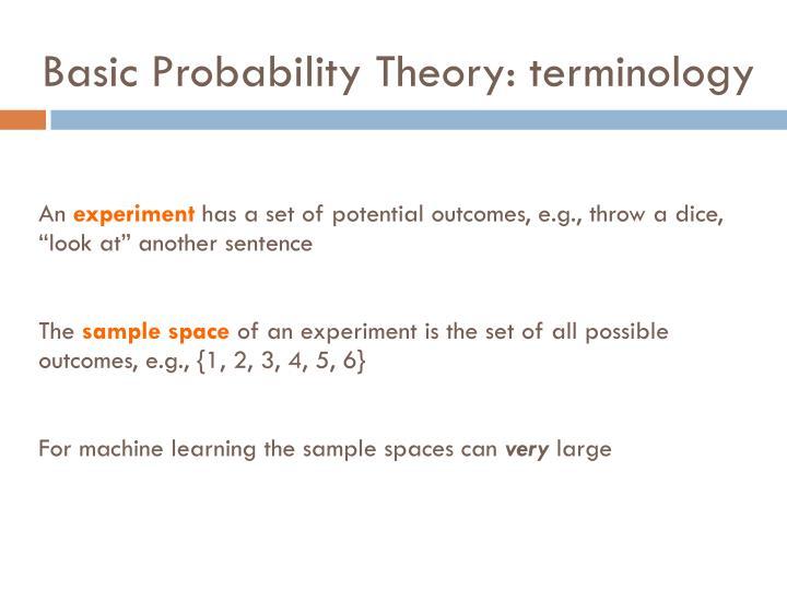 Basic probability theory terminology
