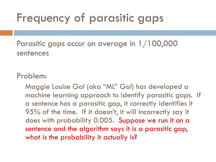Frequency of parasitic gaps