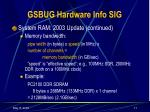 gsbug hardware info sig10