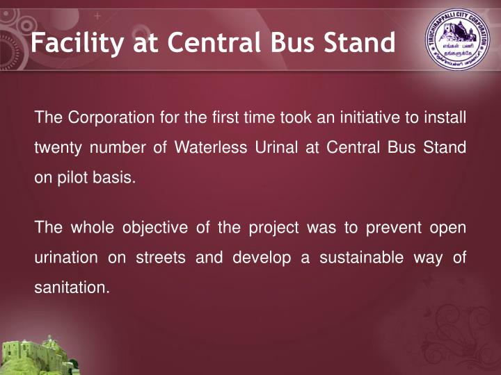 Facility at Central Bus Stand