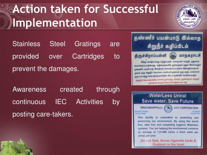 Action taken for Successful Implementation