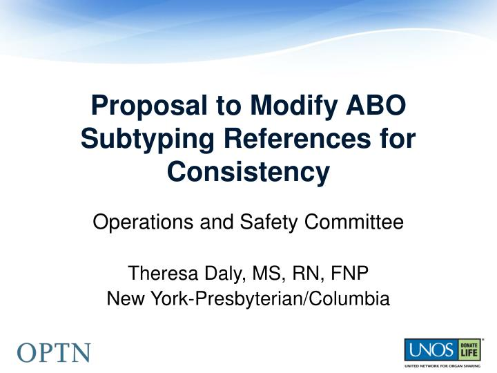 Proposal to Modify ABO Subtyping References for Consistency