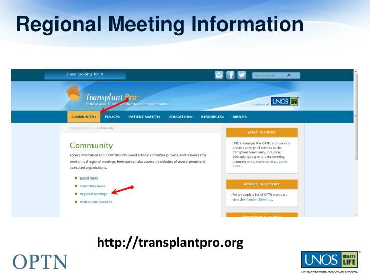 Regional Meeting Information