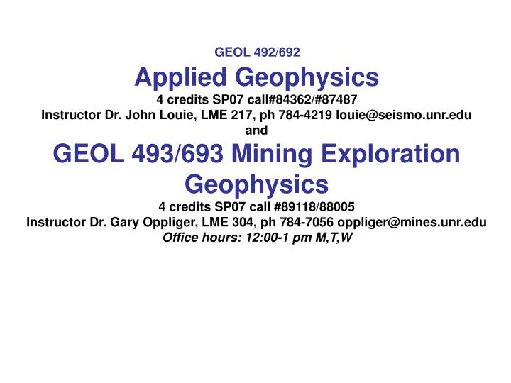 PPT - Applied Geophysics PowerPoint Presentation - ID:4510623