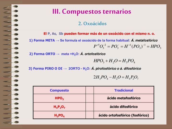 III. Compuestos ternarios