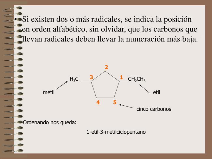 Si existen dos o más radicales, se indica la posición en orden alfabético, sin olvidar, que los carbonos que llevan radicales deben llevar la numeración más baja.