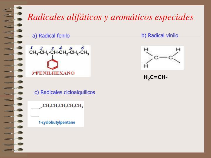 Radicales alifáticos y aromáticos especiales