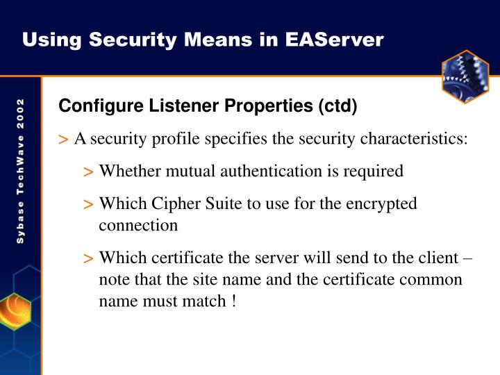 Using Security Means in EAServer
