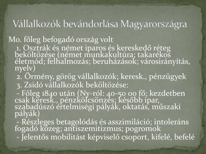 Vállalkozók bevándorlása Magyarországra