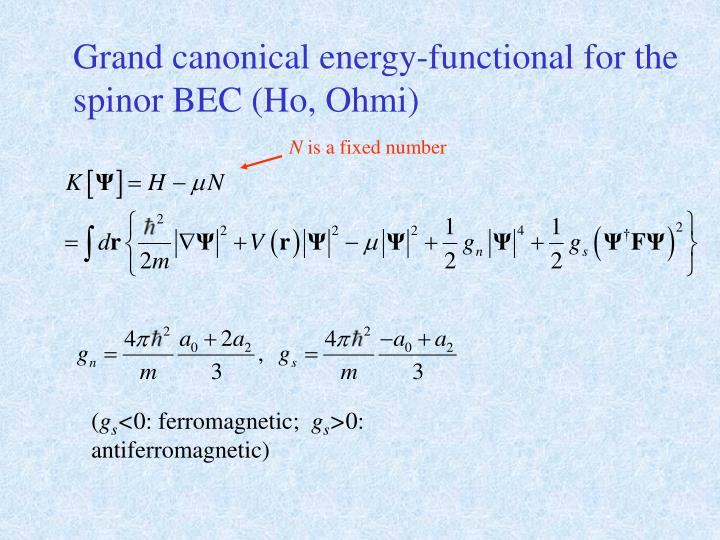 Grand canonical energy-functional for the spinor BEC (Ho, Ohmi)