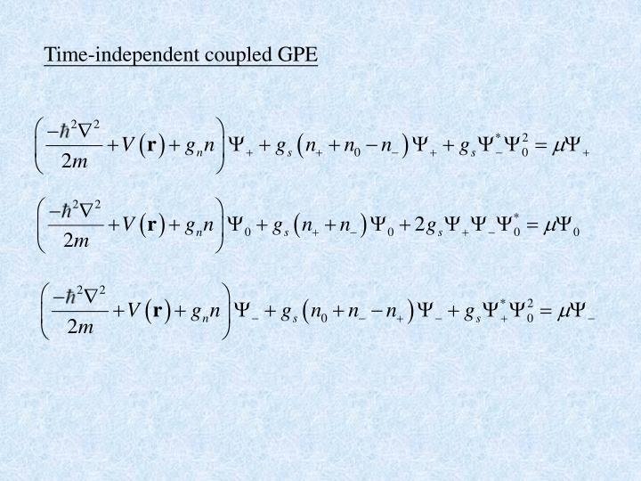 Time-independent coupled GPE