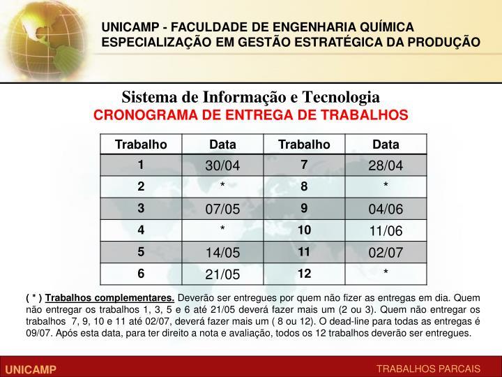 Sistema de informa o e tecnologia cronograma de entrega de trabalhos