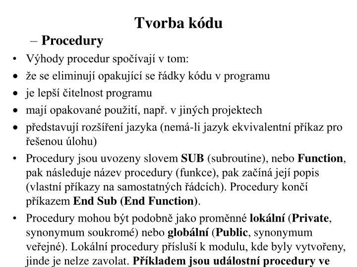 Tvorba kódu