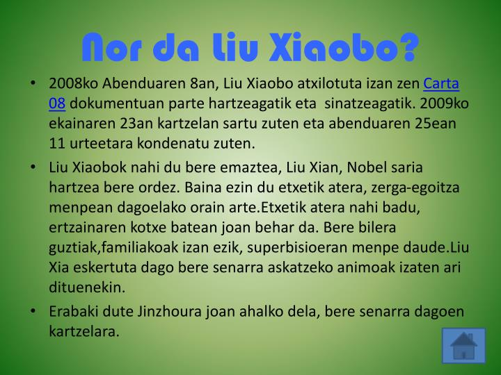 Nor da Liu Xiaobo?