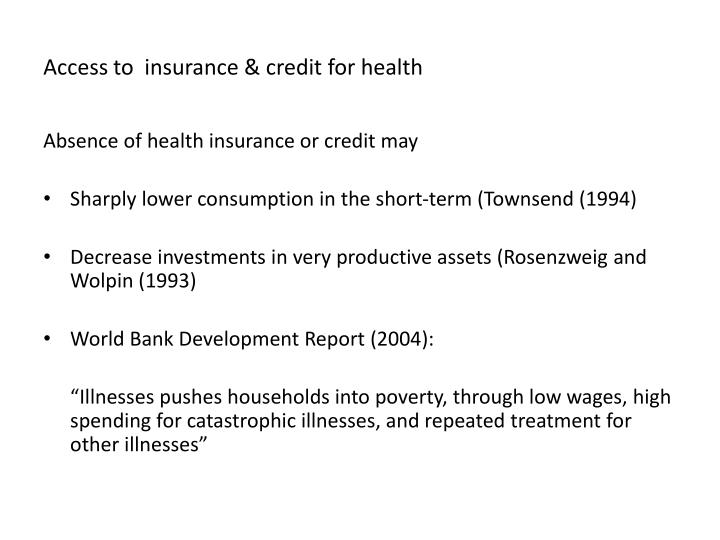 Access to insurance credit for health