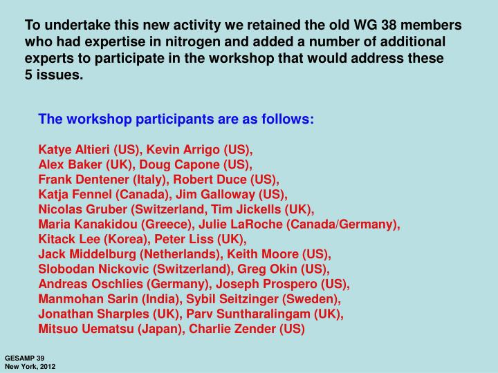 To undertake this new activity we retained the old WG 38 members