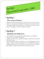 speltips nieuwsbrief september 2008