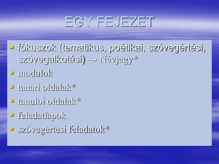 EGY FEJEZET