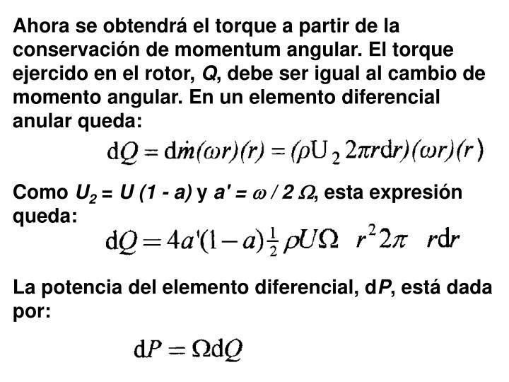 Ahora se obtendrá el torque a partir de la conservación de momentum angular. El torque ejercido en el rotor,