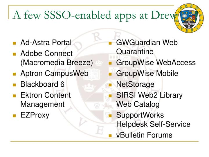 A few ssso enabled apps at drew