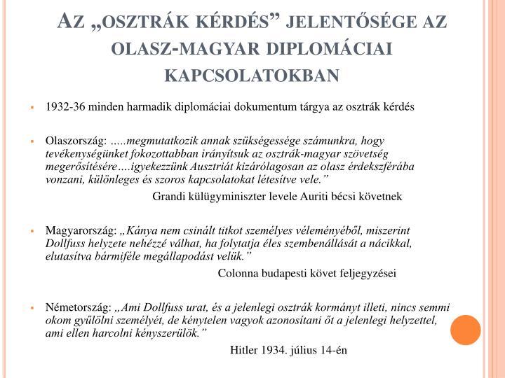 """Az """"osztrák kérdés"""" jelentősége az olasz-magyar diplomáciai kapcsolatokban"""