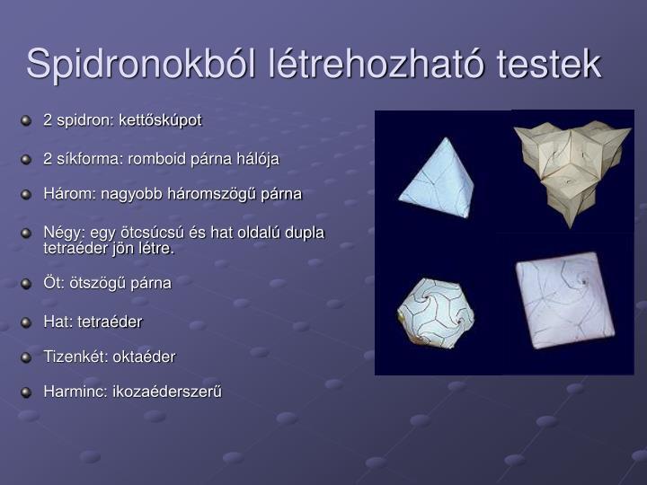 Spidronokból létrehozható testek