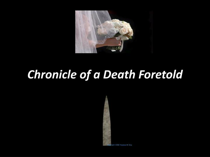 gender analysis of chronicle of a Chronicle of a death foretold has 88,844 ratings and 4,411 reviews ian said: i own about 70 copies of illegally-photocopied versions of this book so i c.