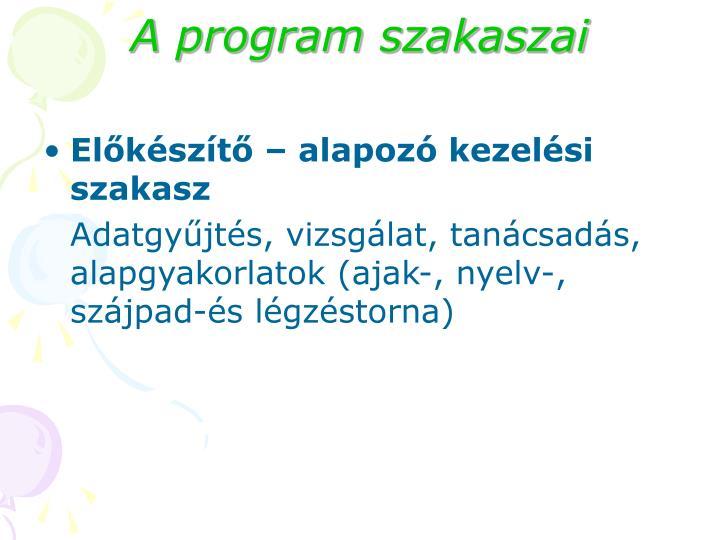 A program szakaszai
