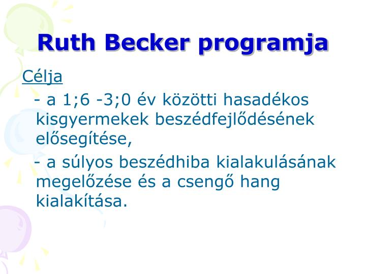 Ruth Becker programja