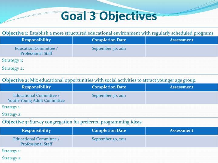 Goal 3 Objectives